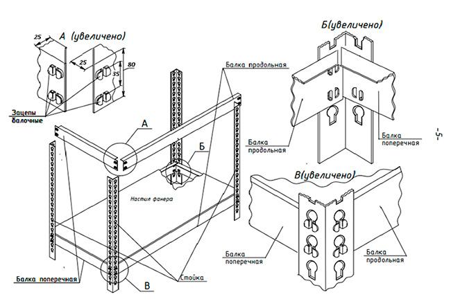 Схема сборки стеллажей МК, МКМ